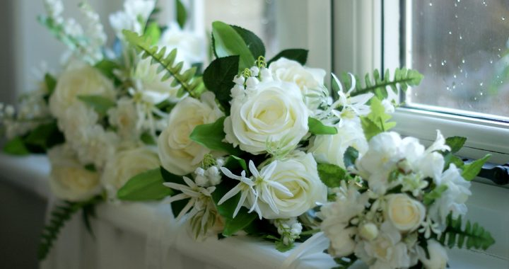 White silk wedding bouquets