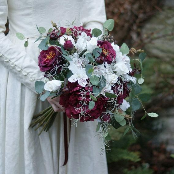 Artificial winter wedding bouquet