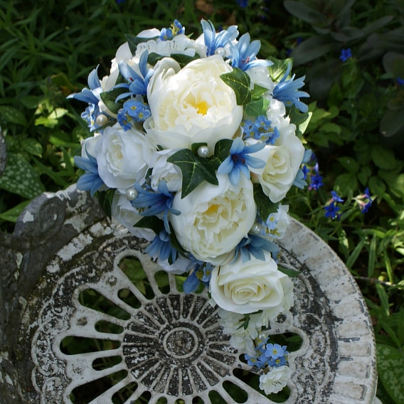 Blue and white artificial teardrop bouquet