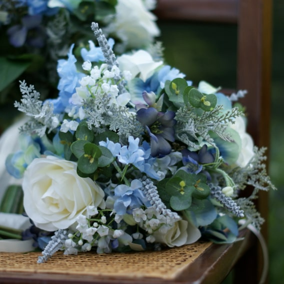 Blue silk wedding bouquet