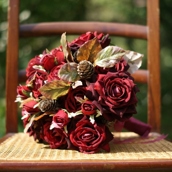 Bouquet of artificial velvety red roses