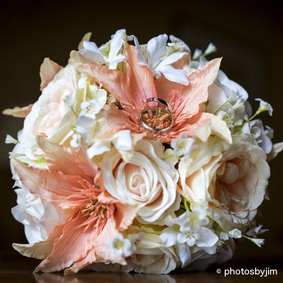 Coral and blush silk wedding bouquet