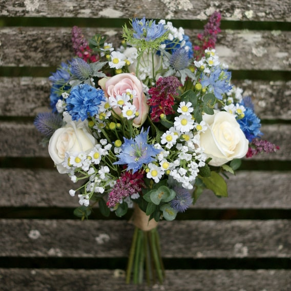Mixed flower replica bouquet with daisies
