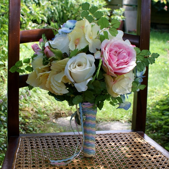 Pastel rainbow silk flower bouquet