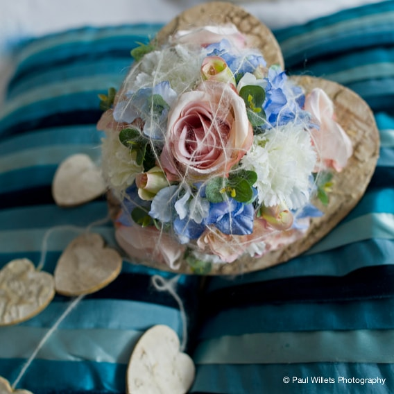 Pastel silk wedding bouquet with birch bark collar