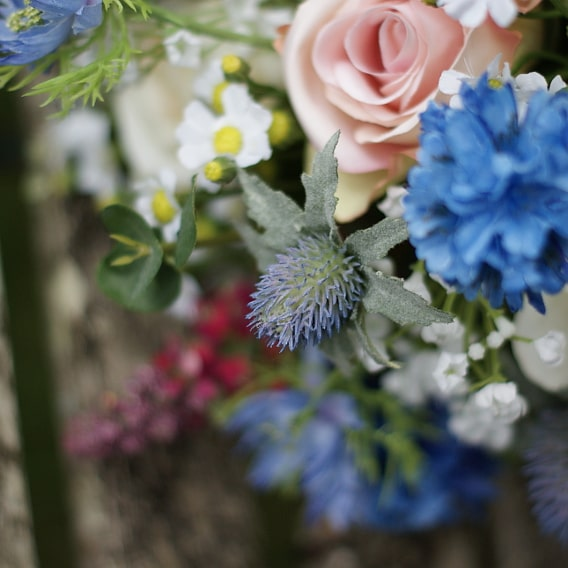 Pink and blue silk flowers