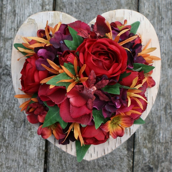 Red and orange silk wedding bouquet