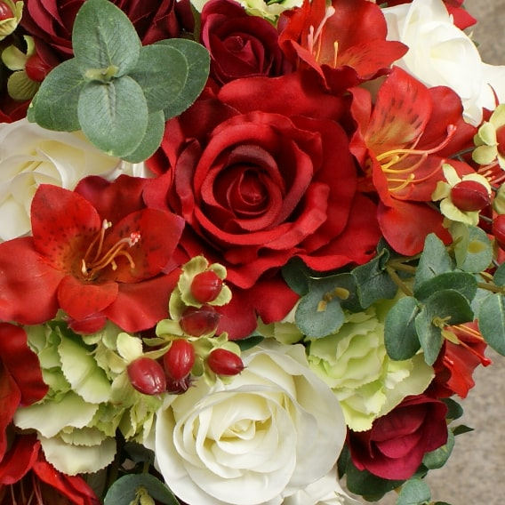 Red and pale green flowers