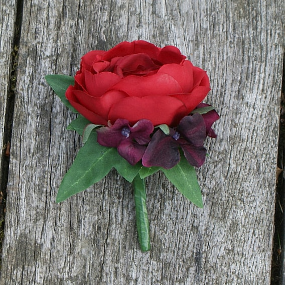Red silk rose buttonhole