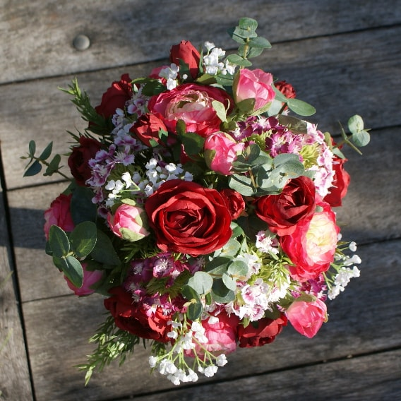 Replica bouquet of pinks and reds