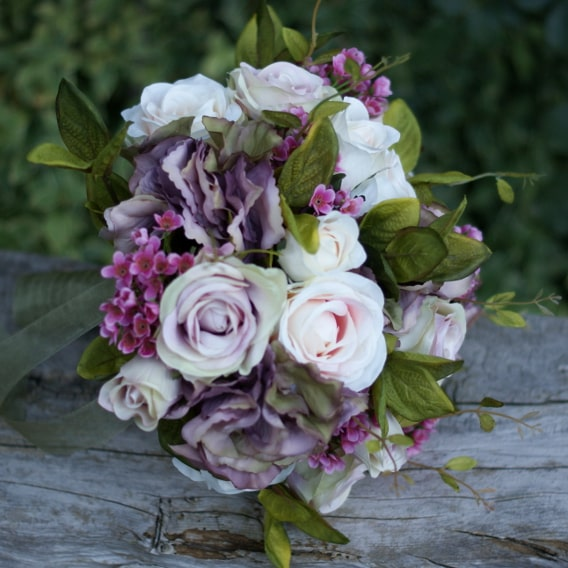 Vintage mauve silk wedding bouquet with organza ribbon