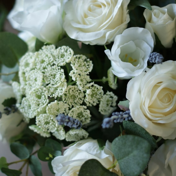 White rose and ammi flowers