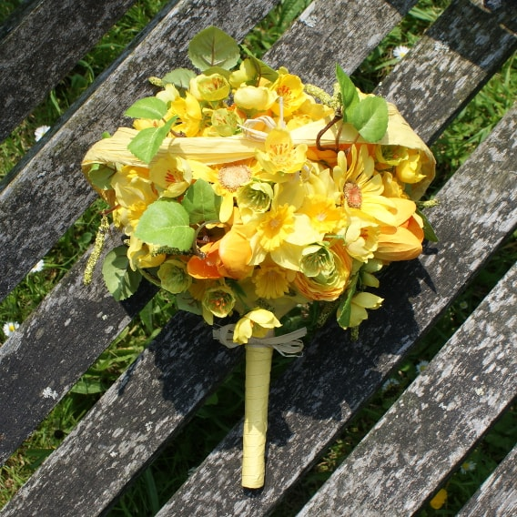 Yellow silk flower bridal bouquet