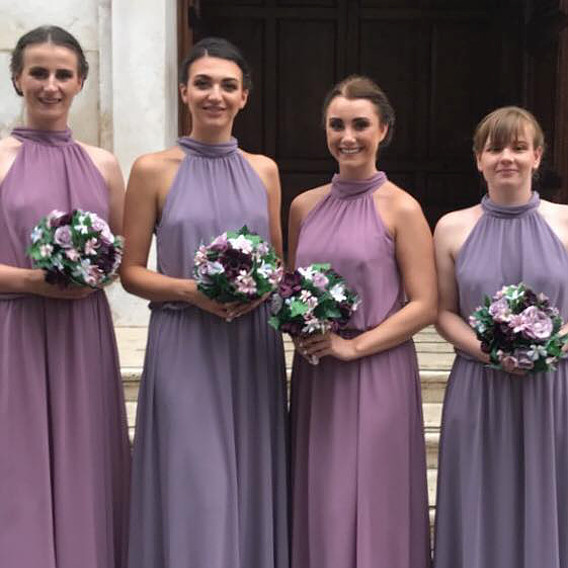 Silk bridesmaids bouquets