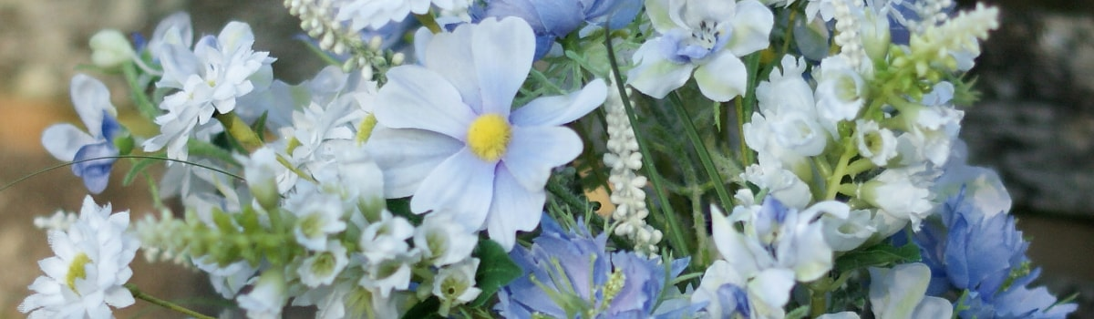 Blue and white faux flowers