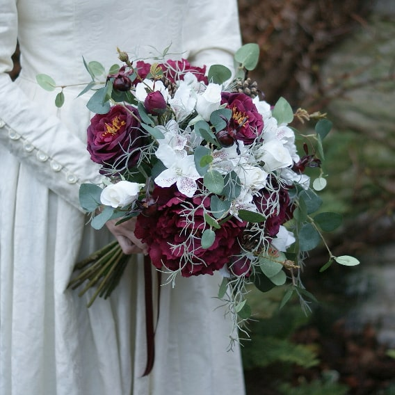 Artificial winter wedding bouquet