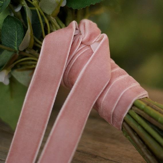 Soft dusky pink velvet ribbon