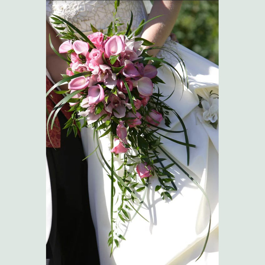 Original pink calla and orchid bouquet