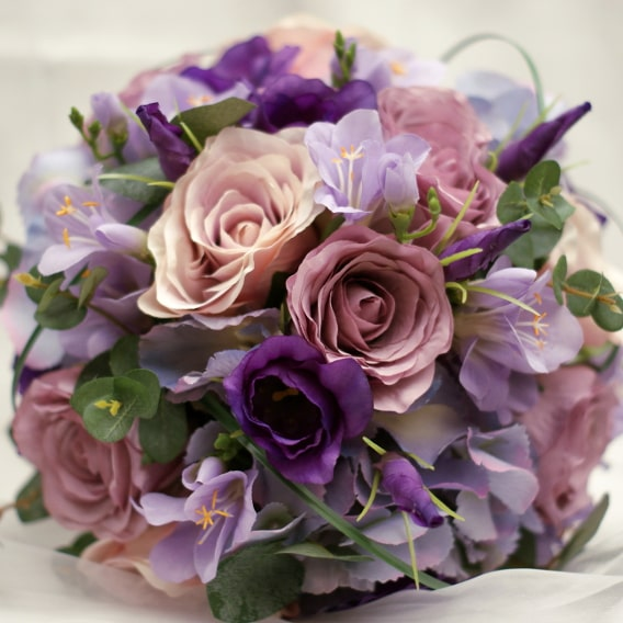 Pink and purple replica bouquet