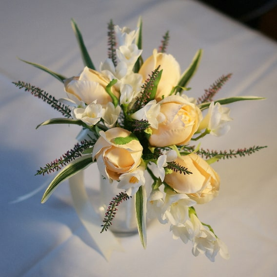 Rose, freesia and heather replica bouquet