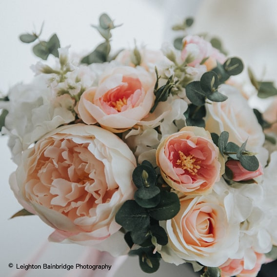 Silk bouquet of soft pinks and ivory