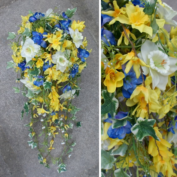 Yellow, blue and white spring trailing bouquet