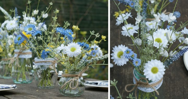 Artificial meadow flowers in jars