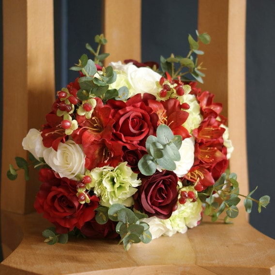 Red and white silk bouquet