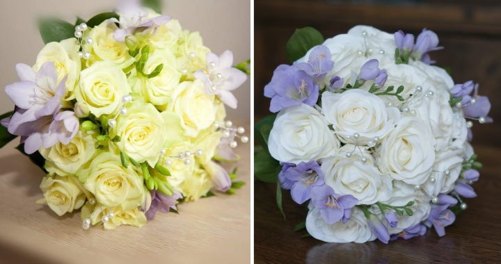 White rose and purple freesia replica bouquet