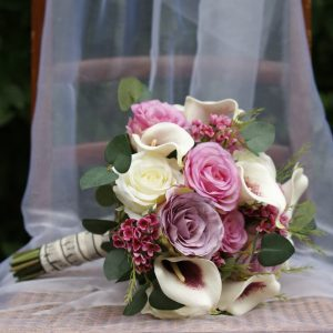 Replica rose and hand painted calla bouquet