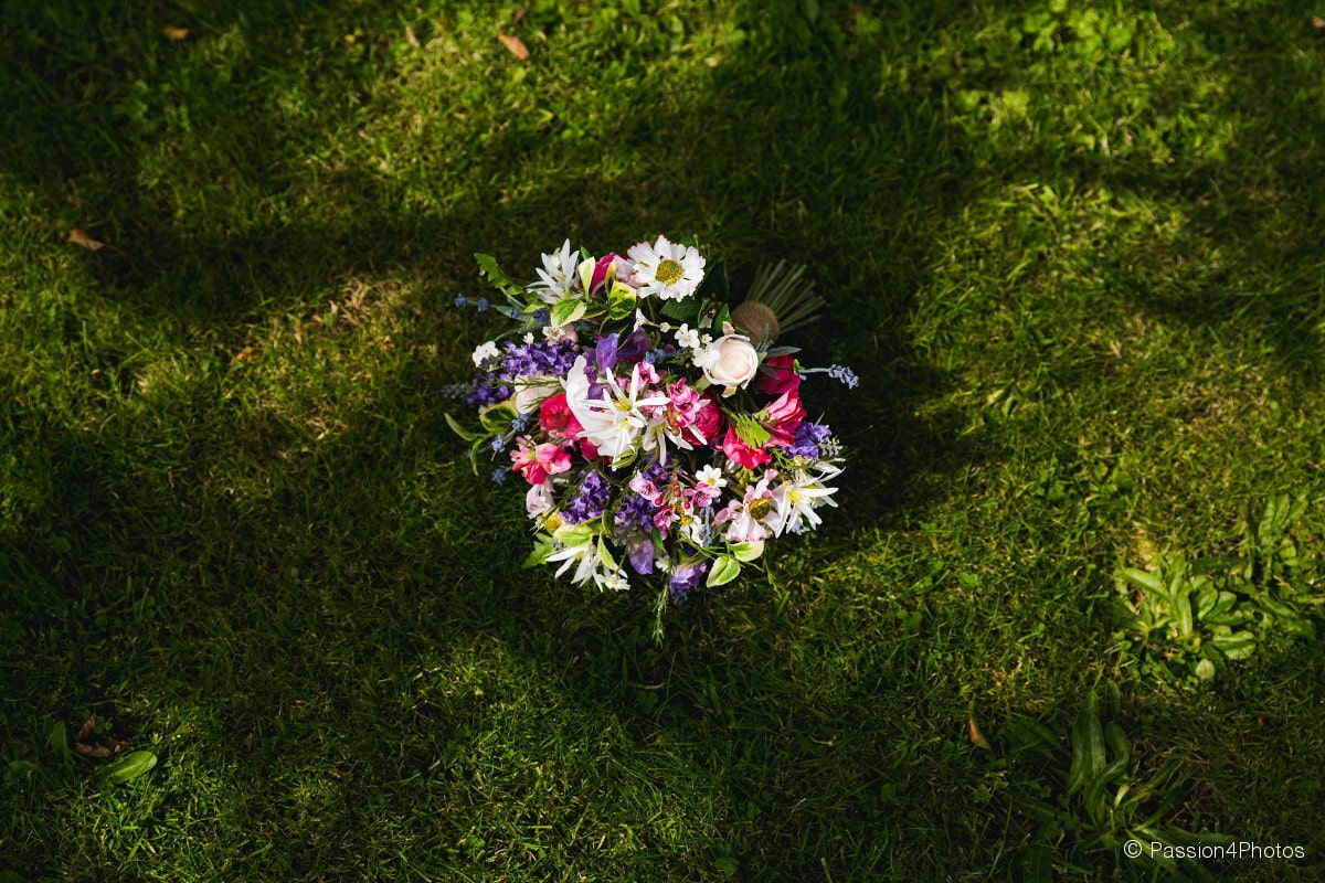 Bridal bouquet in dappled shade