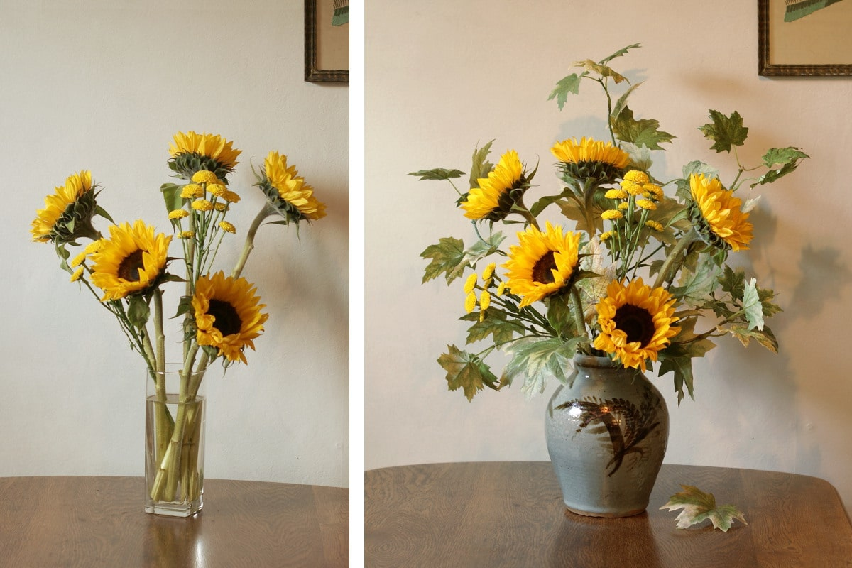 Sunflower arrangement with artificial leaves