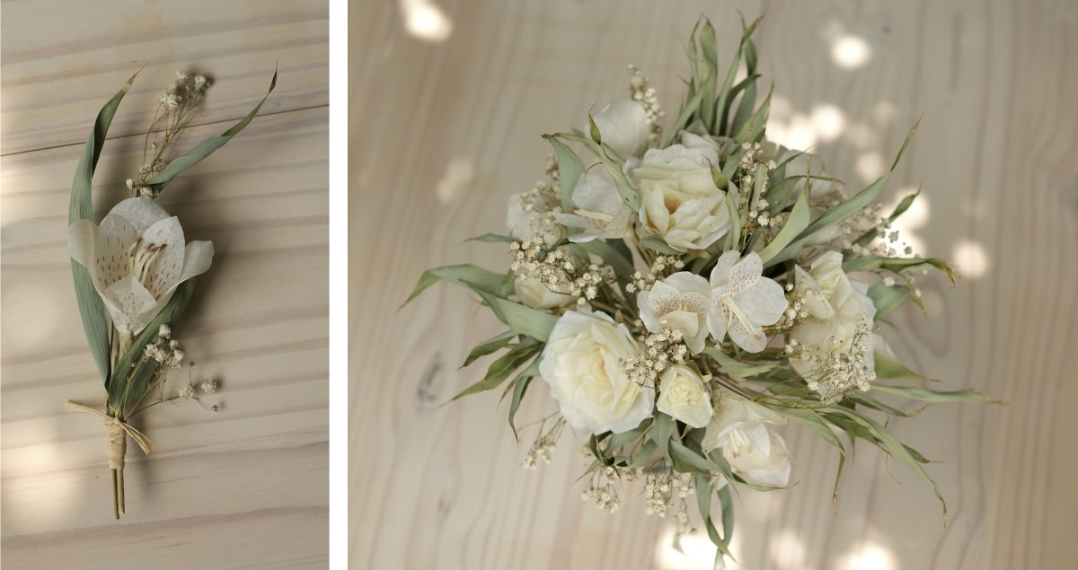eco friendly buttonhole and bouquet