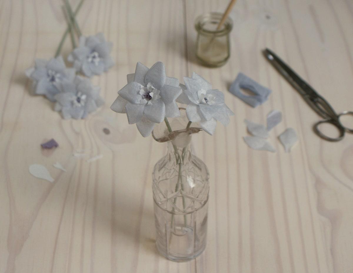 pale blue paper delphinium flowers