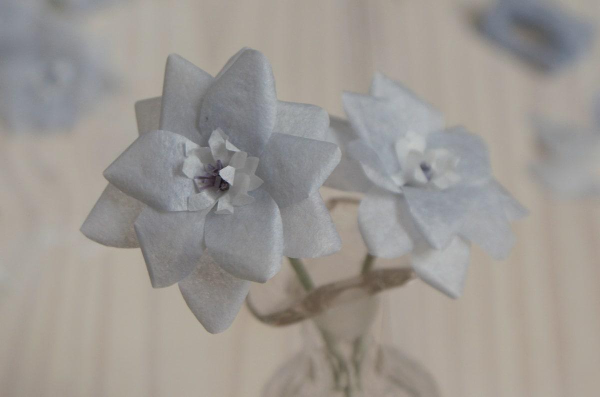 pale blue tissue paper flowers