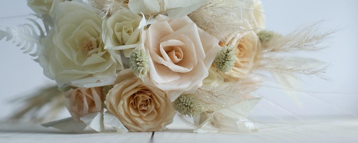 paper flower and grass bouquet