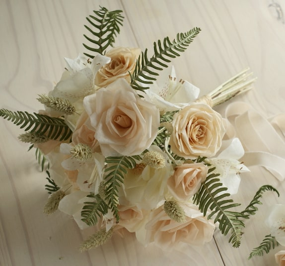 paper rose and alstroemeria bouquet