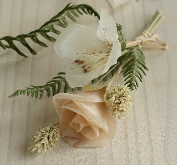 paper rose and alstroemeria buttonhole