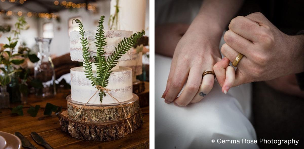 wedding cake and rings