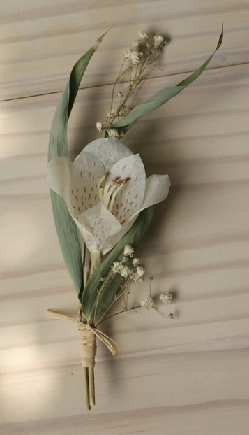 white paper flower buttonhole
