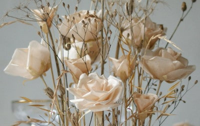 paper rose bouquet with dried gypsophila